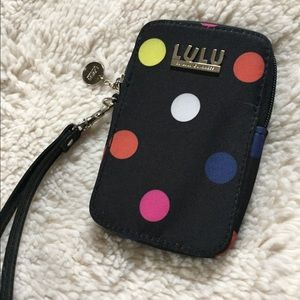 LuLu device/wallet black with color polka dots